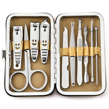 10 шт./компл. маникюрные инструменты для ногтей, набор ножниц для стрижки ногтей, пинцет, нож, маникюрные наборы, чехол с каменным рисунком для маникюра