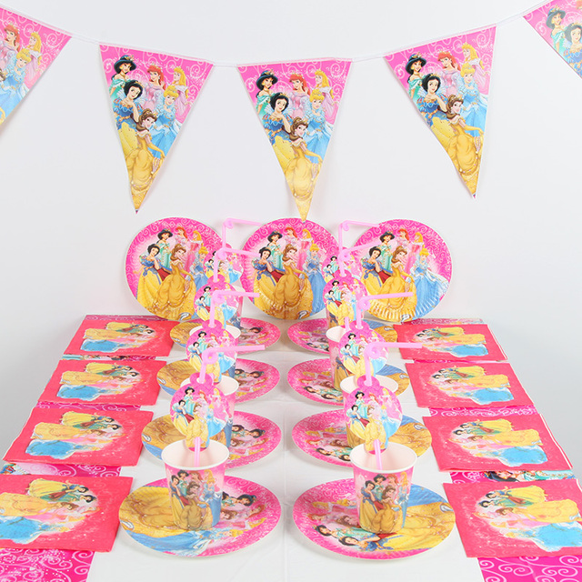 463ebd39274 91pcs lot DISNEY Princess party supplies Kids Birthday decoration Baby Birthday  Party Decoration Supplies Baby