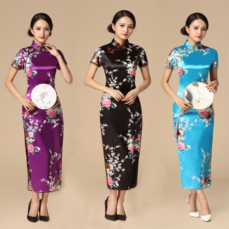 Floral&Peacock Women Traditional Chinese Dress Vintage Mandarin Collar Qipao Oversize Long Slim Cheongsam 3XL 4XL 5XL 6XL