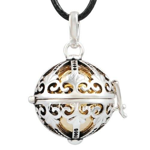 Беременность подарок для ребенка из черненого Медь в форме металлической птичьей клетки кулон ангел абонент Подвески 20 мм Музыкальный шар, гармония Bola кулон Цепочки и ожерелья H119 - Окраска металла: Gold