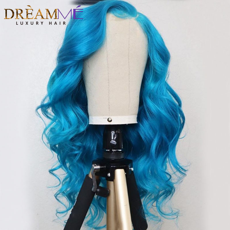 Blue Colored Lace Front Human Hair Wigs Preplucked Body Wave Lace Wig Human Hair Glueless Transparent