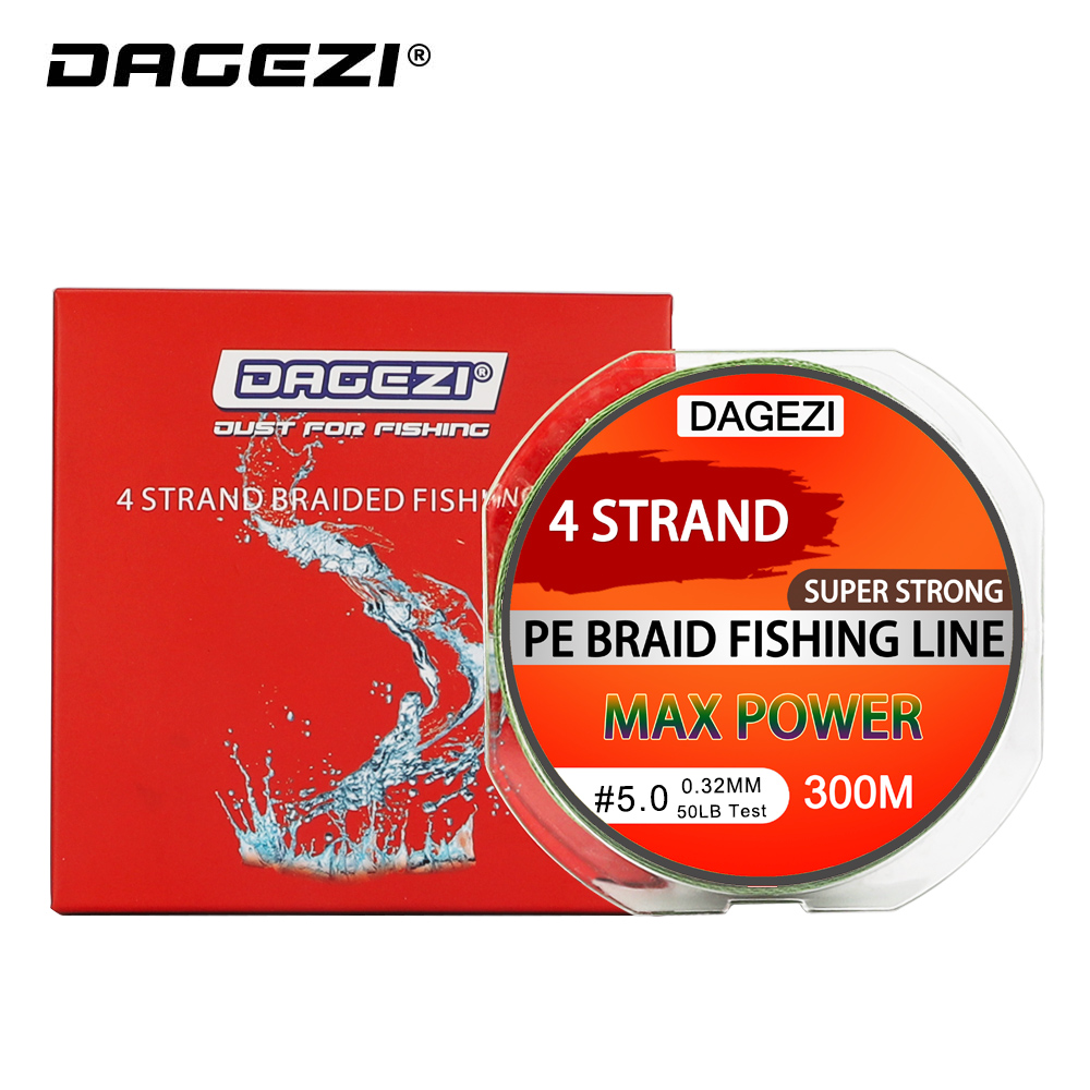 DAGEZI Super Strong 4 strand 300M/330YDS 100% PE Braided Fishing Line 10-80LB Multifilament Fishing Line Carp Fishing Saltwater