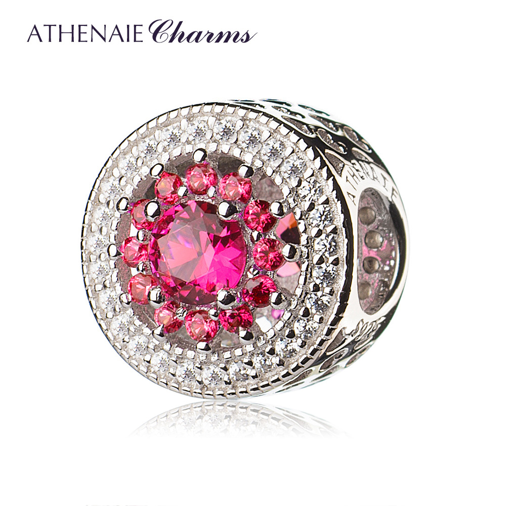 ATHENAIE 4 Colors 925 Sterling Silver with Pave Clear CZ & Rose Red Heart Radiant Openwork Charm Beads Fit Bracelets and Bangles