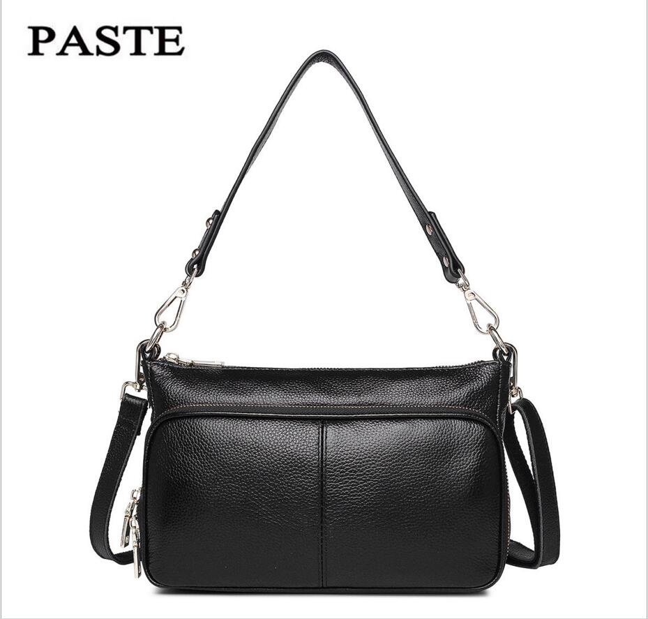 PASTE New Leather Handbags First Layer of Leather Shoulder Bag Messenger Bag Handbag White Casual Bag Female Shoulder Bag bag female new genuine leather handbags first layer of leather shoulder bag korean zipper small square bag mobile messenger bags