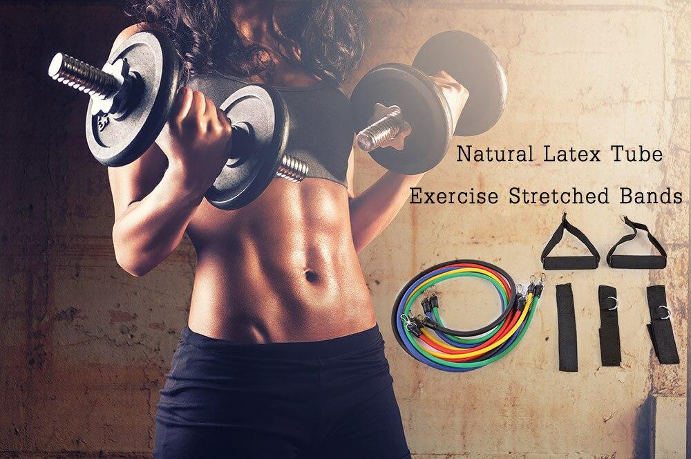11 Adet Set için Doğal Lateks Direnç Gruplar Yoga Pilates Crossfit Fitness Ekipmanları ve Antreman Egzersiz