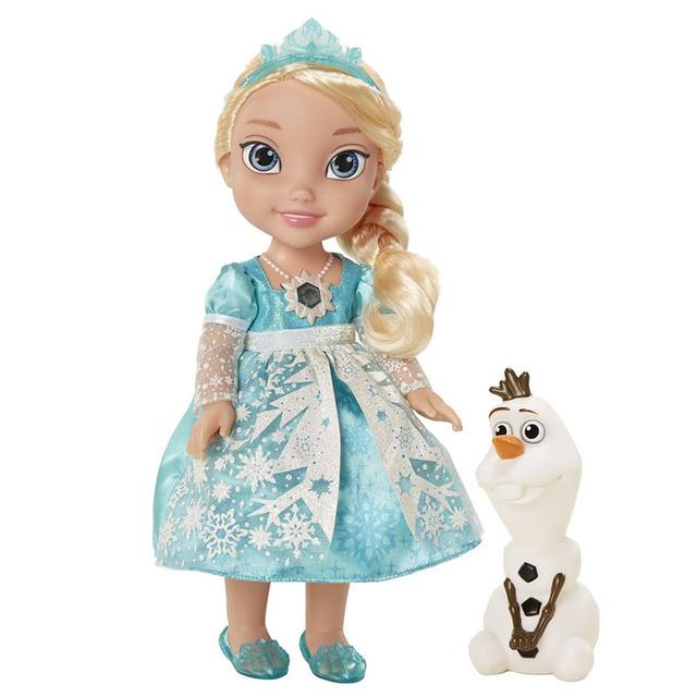 34 CM Dos Desenhos Animados Elsa Fala Cantar LET it go Luminescência Brinquedos Olaf PVC Macio Stuffed Dolls Crianças Presentes