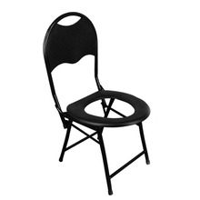 Portable Strengthened Foldable Toilet Chair with Backrest Travel Camping Fishing Mate Chair Outdoor Activity Accessories
