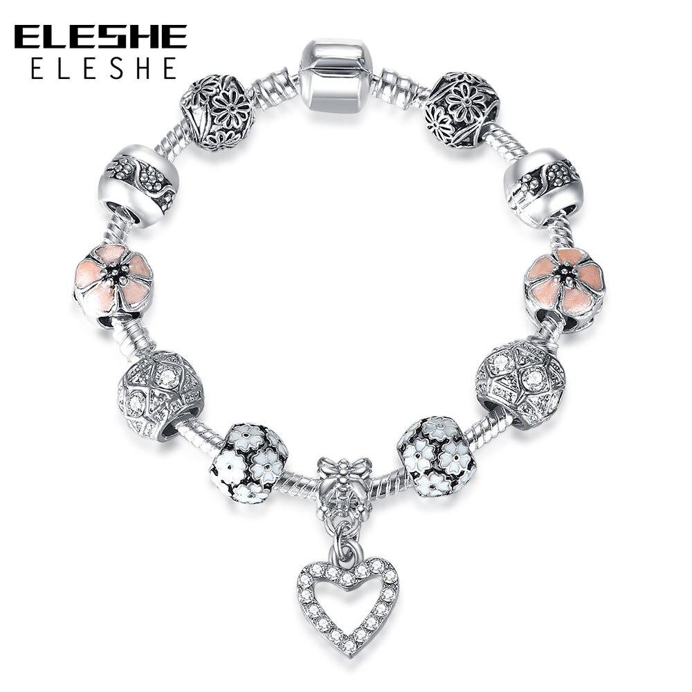 Eleshe 925 Silver Charm Bracelet Bangle With Crystal Heart & Cherry Blossom  Beads Friendship Bracelets For Women Fashion Jewelry