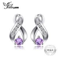 JewelryPalace Fashion 0 3ct Round Natural Amethyst Stud Earrings For Women Solid 925 Sterling Silver Brand