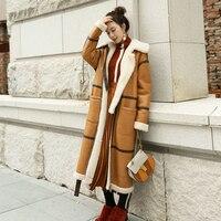 2018 кожаное пальто женские Меховые пальто длинный отрезок стрижки овец манто femme зимняя теплая куртка меха одежда обе стороны MS