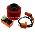 Scooter High Performance AC CDI Ignition Coil & High Flow Air Filter Kit For GY6 150cc 157QMJ, 1P57QMJ, 152QMI