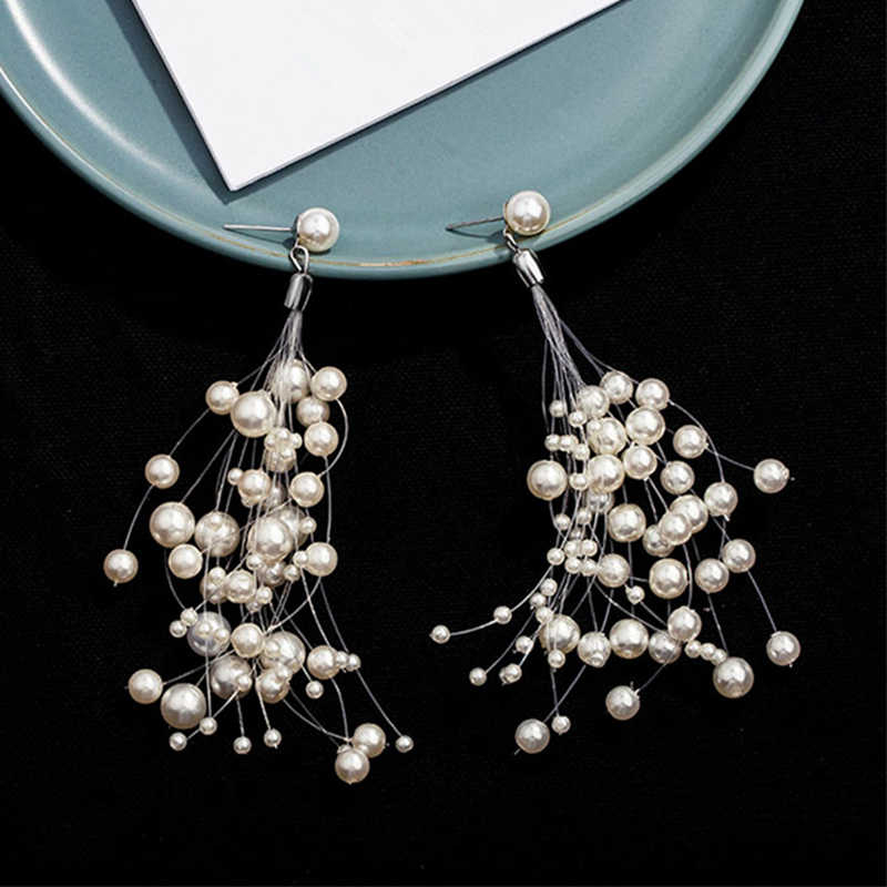 2019 New Arrival White Size Beads Earrings for Woman Elegant Long Tassel Simulated Pearls Fish Line Earrings Wedding Bride Gifts