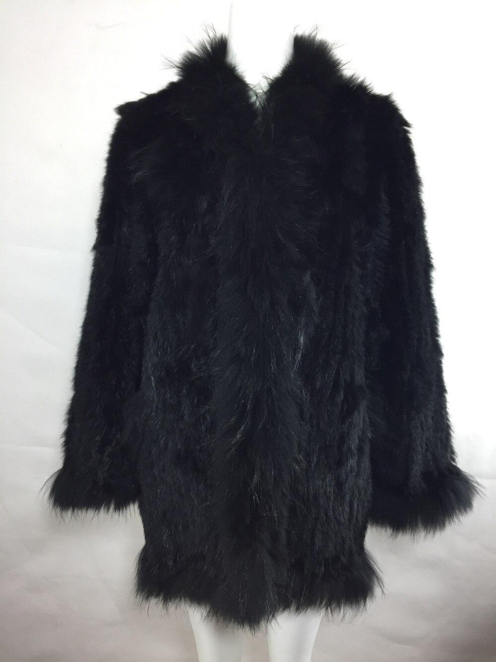 Lange Gestrickte Kaninchen Fell Kapuze Mantel Natur Braun Waschbären Pelz Trimmt Häkeln Strickjacke Pelz Pullover Jacke Outwear Frauen Plus Größe