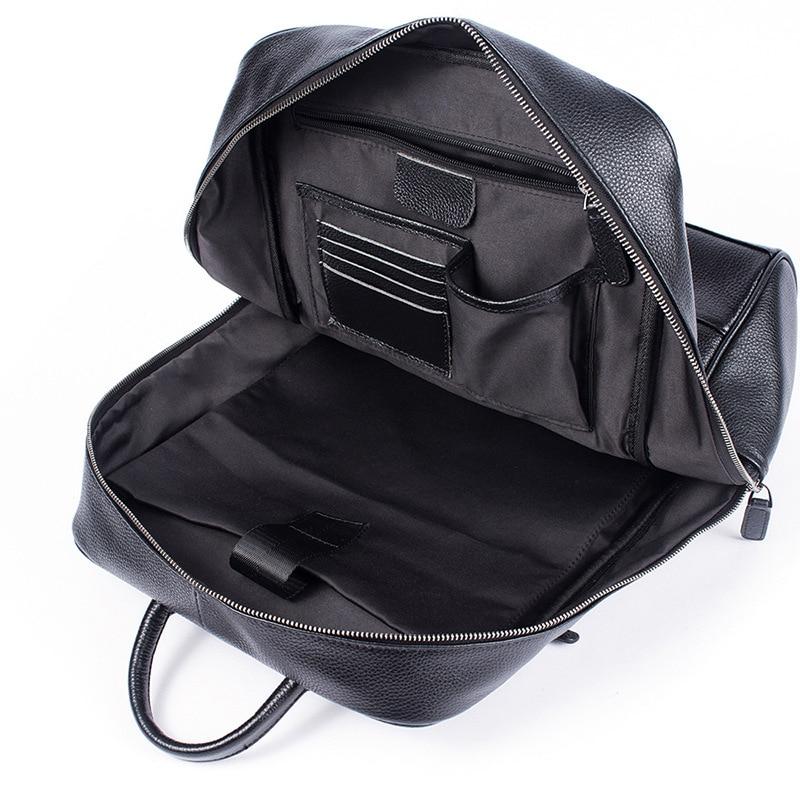 Hommes en cuir véritable sac à dos sac à dos pour ordinateur portable grande capacité sacs d'école pour adolescents mode décontracté sac de voyage Mochila noir - 5