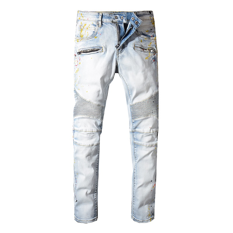Sokotoo Men's blue white painted biker   jeans   for motorcycle Plus size slim fit pleated stretch denim pants