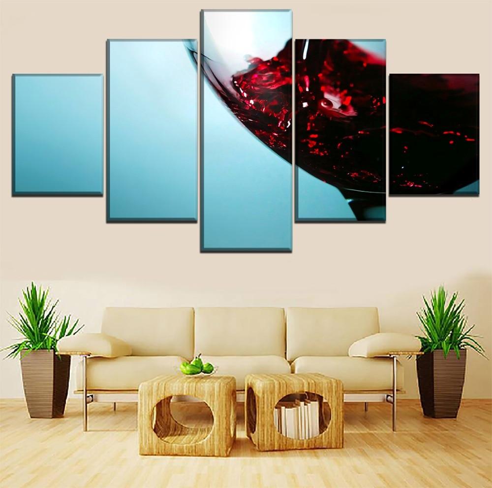 Kanvas Gambar HD Cetakan Kitchen Decor 5 Pieces Cangkir Anggur ...