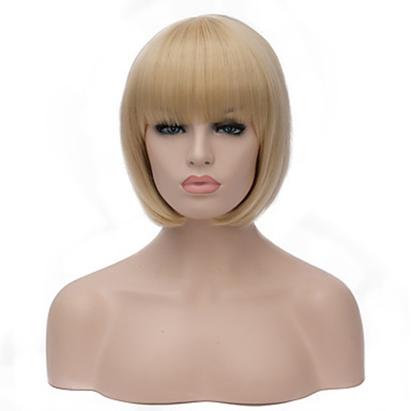 HAIRJOY Women Capless Short Straight BOB Light Pink Synthetic Wig Full Bang 11 Colors Available Free Shipping