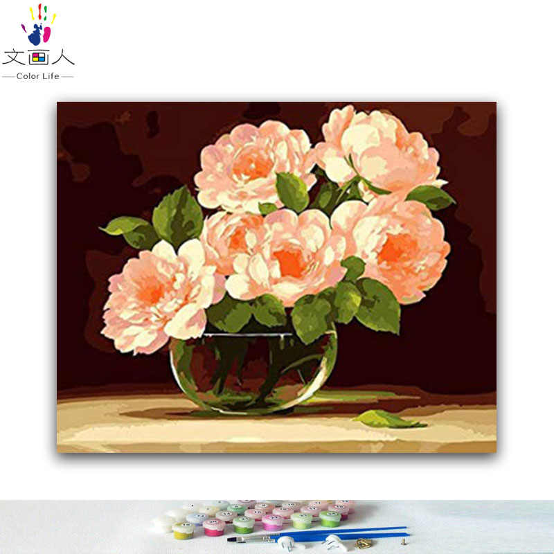 DIY colorings pictures by numbers with flowers and plants painting picture drawing painting by numbers framed Home