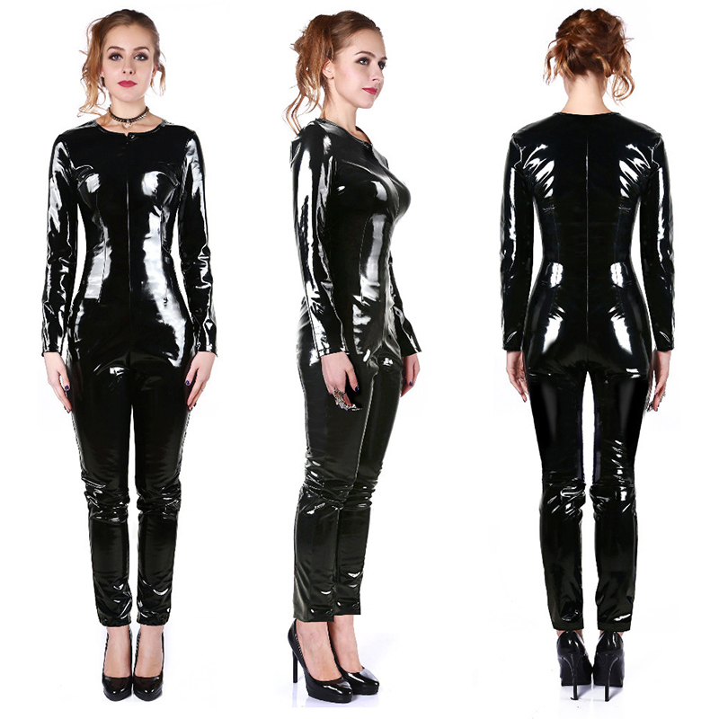 Cool Handsome Womens PVC Bodysuit Black Wet Look PU Leather Latex Catsuit Punk Zentai Jumpsuit Clubwear Plus Size S M L XL XXL