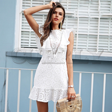 CUERLY Embroidery cotton white dress women Ruffle sleeve high waist short dress 2019 Keyhole back casual dress female vestidos цена 2017