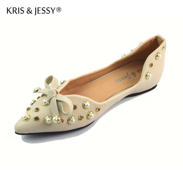 Fashion Pearls Bow Flats For Women Pointed Toe Flat Heel Wedding Shoes Pink Cream