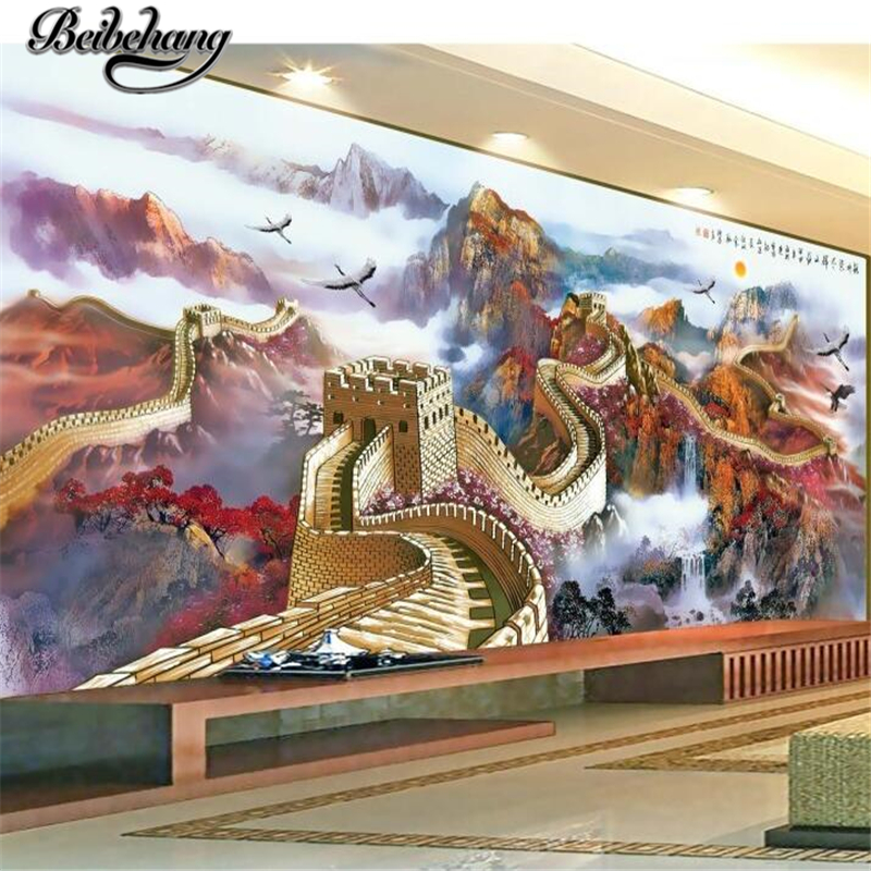 beibehang Custom photo wallpapers 3d Miles Great Wall Chinese landscape magnificent mountains and rivers TV wall mural
