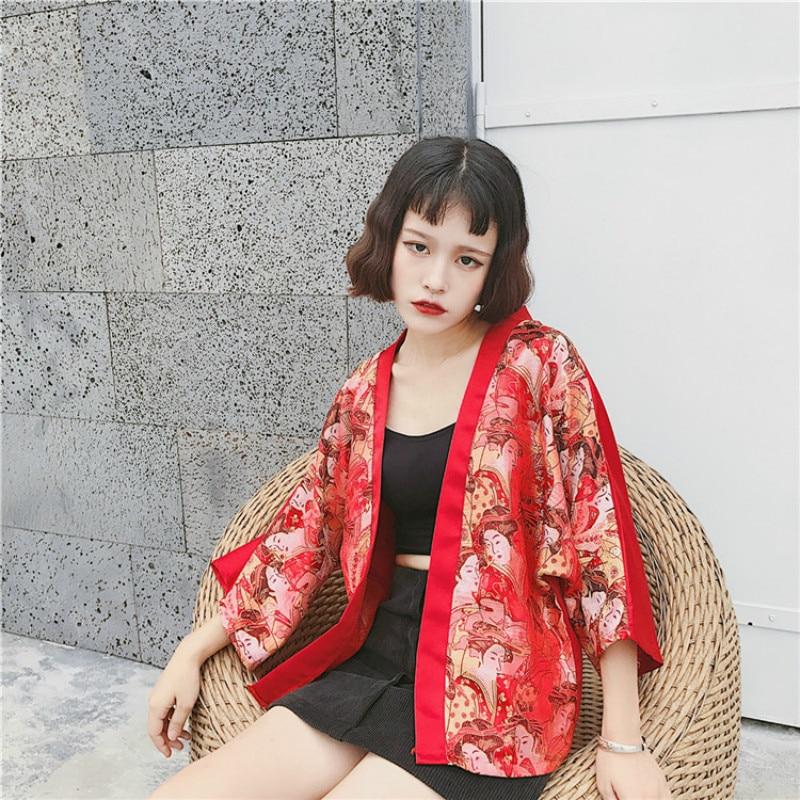 Harajuku Japanese Style Embroidery Kabukicho Kimono Bat Sleeves Loose Red Cardigan Kimono Tide Clothes