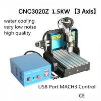 1.5KW Water Cooling 3 Axis CNC Desktop Router 3020 TBI SFU1605 Ballscrew USB Port MACH3 for Wood Stone Metal Engraving