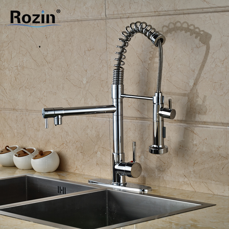 ФОТО Chrome Single Handle Pull Down Kitchen Faucet Dual Sprayer Hands Free Kitchen Mixer Taps