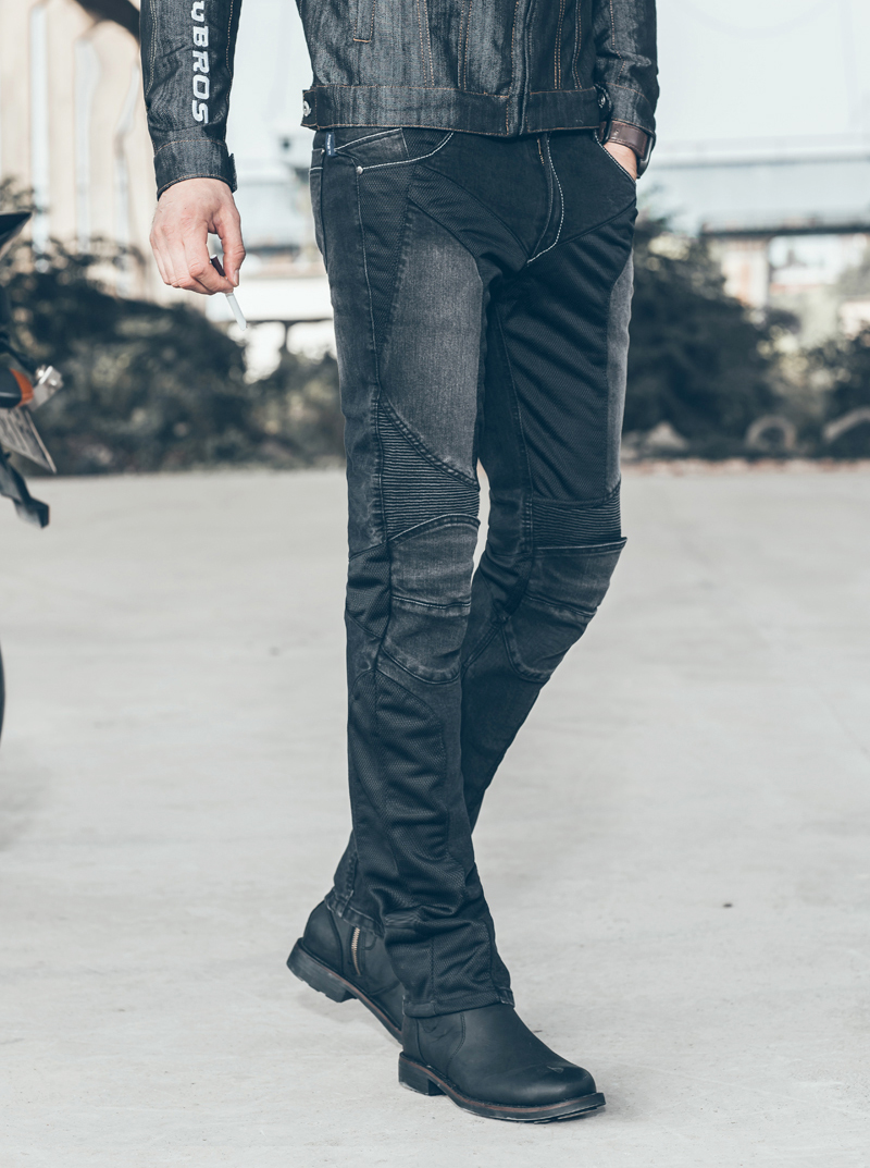 Free Shipping uglyBROS JUKE UBP-01 Jeans Black Summer Mesh Ride Pants Casual Straight Jeans Motorcycle Protective Pants