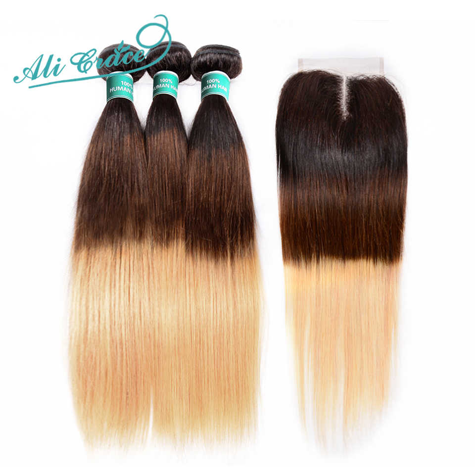 Ali Grace Hair Brazilian Straight Hair 3 Bundles Human Hair Weave With 4*4 Lace Closure Ombre T1B/4/27 Remy Hair Free Shipping