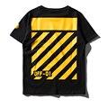 De alta qualidade da moda verão Homens Hip Hop Off White Virgil Abloh T-shirt Camisas Causal Algodão Off-01 sarja amarela impressão Camisetas
