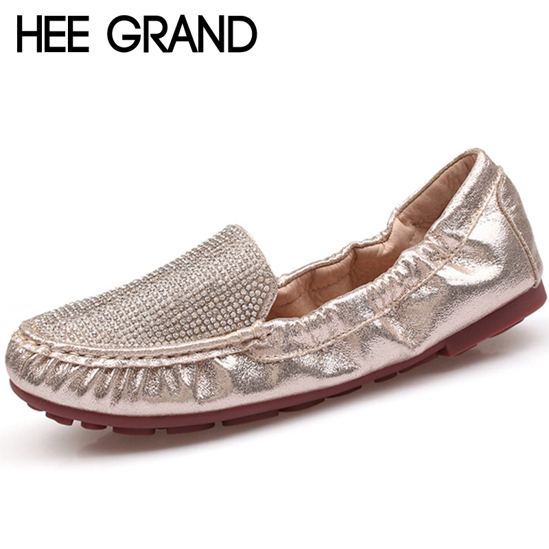 HEE GRAND 2018 Summer Gold Loafers Split Leather Flats Shoes Woman Slip On Moccasin With Bling Crystal Soft Women Shoes XWD6705HEE GRAND 2018 Summer Gold Loafers Split Leather Flats Shoes Woman Slip On Moccasin With Bling Crystal Soft Women Shoes XWD6705