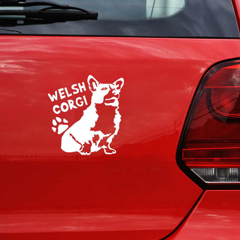 1414cm cute animal pet dog welsh corgi car stickers auto exterior accessories decals for car window tail in car stickers from automobiles motorcycles on