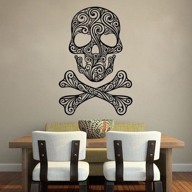 Skull And Crossbones Of Swirls Home Decoration Vinyl Wall Sticker Decal Adesivo De Parede Wall