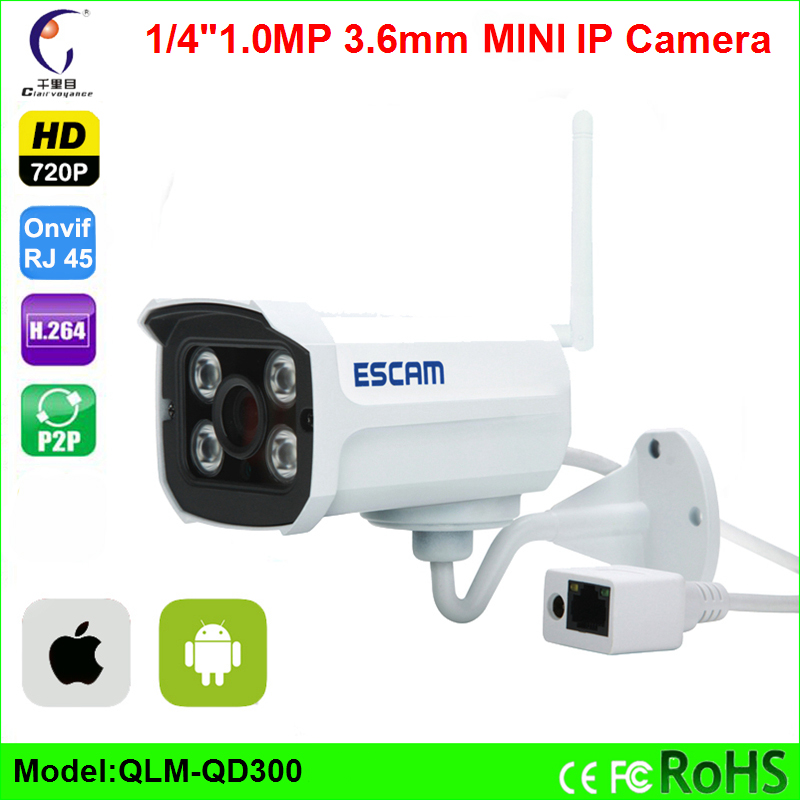 Escam Mini IP Camera QD300 1.0MP HD 720P IR H.264 Onvif P2P CCTV Security Camera Night Vision Waterproof Bullet Cameras mini ip camera bullet hd 720p ir h 264 1 4 cmos onvif night vision p2p 1mp security outdoor waterproof cameras android phone