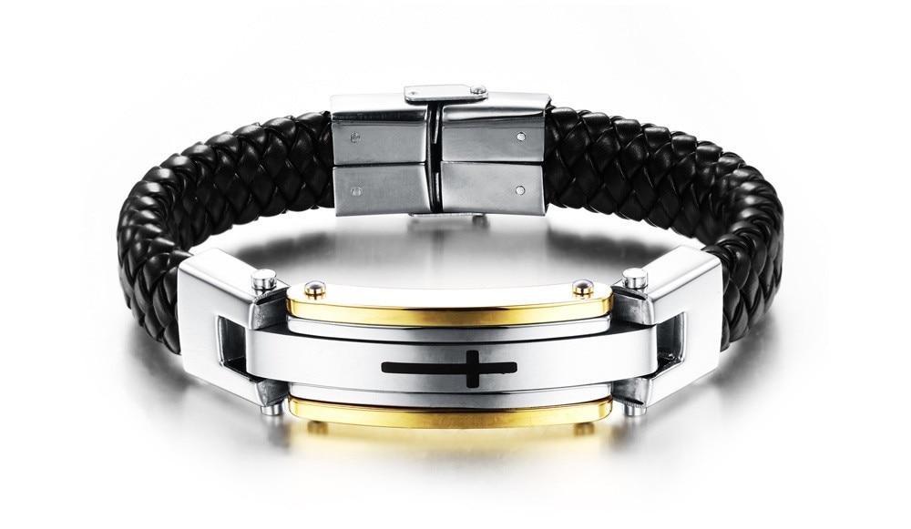 Vintage Leather Wrap Bracelet For Man Fashion Handmade Knitted Bangle - Fashion Jewelry - Photo 3