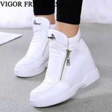 VIGOR/женские белые кроссовки на платформе; Теплая обувь на меху; женские зимние ботильоны; обувь, увеличивающая рост; обувь на танкетке из плюша; WY156