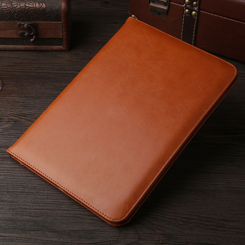 Brown Leather retro style smart portfolio case for iPad 2018 9.7 inch (A1893, A1954)