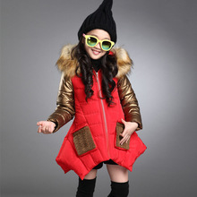 Winter Girls Parker Thick Warm Coat Jacket Childrens Fashion Stitching Hooded Irregular Hem
