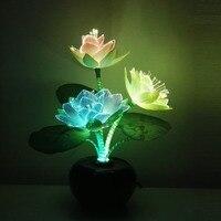 Led flower lights Lotus light buddha lamp Fo lamp Novelty artistic optical fiber flower
