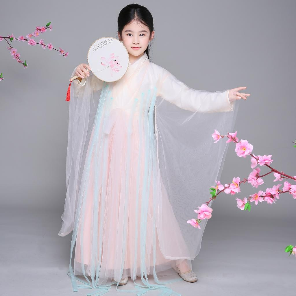 2018 summer chinese folk dance costumes kids children chinese hanfu dress kids folk dance traditional chinese dance costumes enf цены