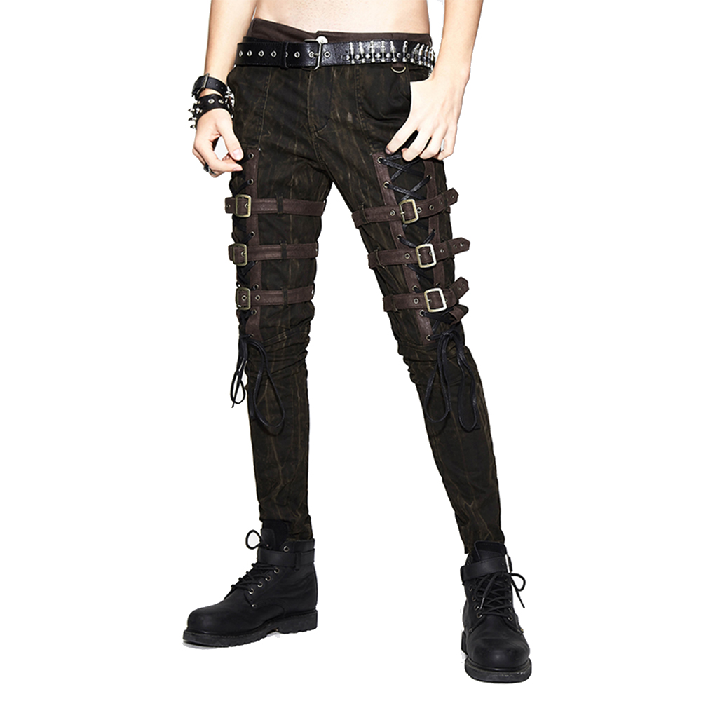 Steam Punk Men's Thigh Leather Buckle Slimming Trousers Gothic Brown Casual Pants Full Length Pencil Pants