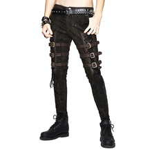 Steam Punk Men's Thigh Leather Buckle Slimming Trousers Goth