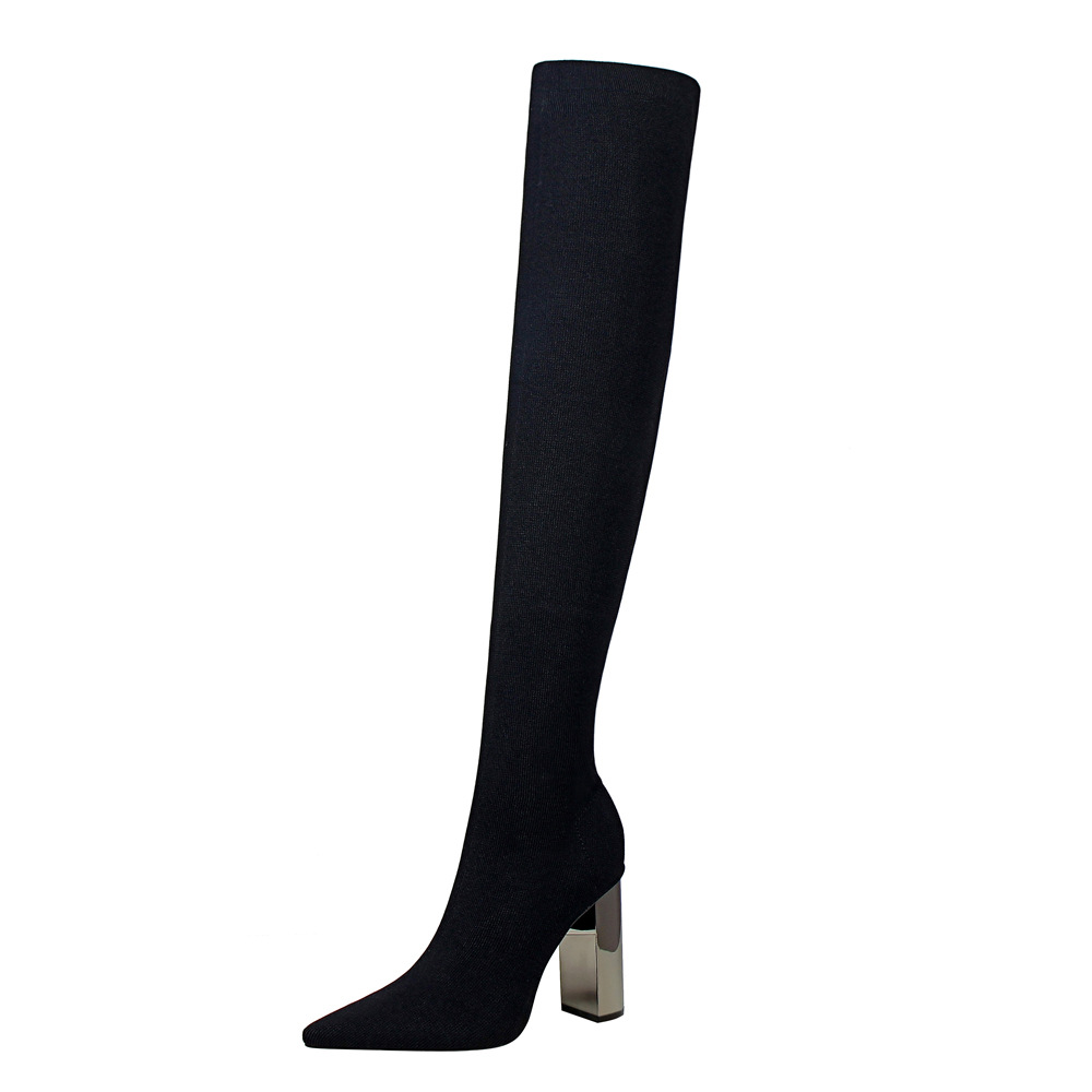 POADISFOO Woman long boots Knee High Boots Square Heels  metal  heel high heeled pointy sexy thin wool boots. DS-3128-1