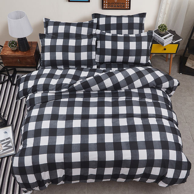 Great Black White Checkered Family Bed Linens High Quality Simple Style Bedding  Set 1 Or 2 Person
