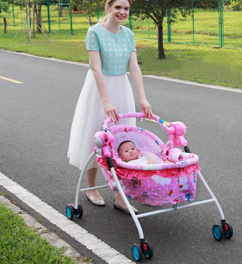 Baby Electric Cradle Bed Baby Trolley Crib with Roller Child Rocking Bed Infant Baby Crib Stroller with Music Mosquito Net 0~2Y corn husks cradle no paint wood frame cotton baby bassinet with mosquito net and mat steel frame baby cradle baby rocking crib