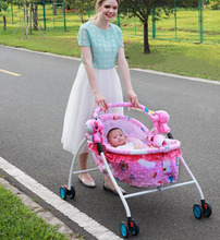 купить Baby Electric Cradle Bed Baby Trolley Crib with Roller Child Rocking Bed Infant Baby Crib Stroller with Music Mosquito Net 0~2Y дешево