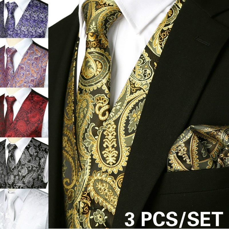 Brand Gold Mens Suit Vest+Tie+Pocket Square 3pcs Set Paisley Floral Sleeveless Wedding Waistcoat Men Party Club Prom Gilet Homme