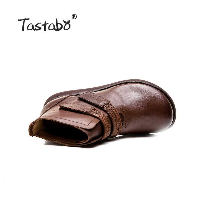 Tastabo Handgemaakte craft laarzen bruin plus fluwelen blote laarzen Muffin bodem vrouwen laarzen Comfortabele voering Retro casual